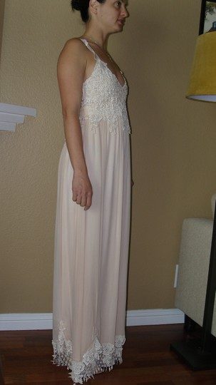 Ivory/Tea A Combination Of New Chiffon and Laces and Silks Judy W/Bows Vintage Wedding Dress Size 4 (S) Image 2