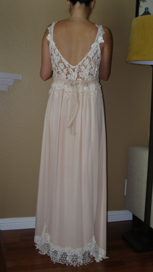 Ivory/Tea A Combination Of New Chiffon and Laces and Silks Judy W/Bows Vintage Wedding Dress Size 4 (S) Image 3