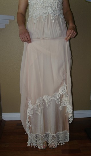 Ivory/Tea A Combination Of New Chiffon and Laces and Silks Judy W/Bows Vintage Wedding Dress Size 4 (S) Image 4