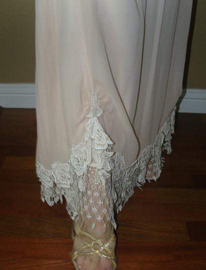 Ivory/Tea A Combination Of New Chiffon and Laces and Silks Judy W/Bows Vintage Wedding Dress Size 4 (S) Image 5