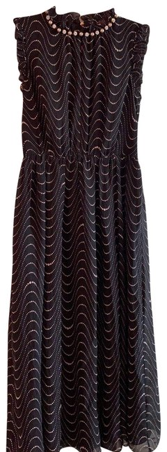 Item - Black and Taupe Evening Mid-length Cocktail Dress Size 0 (XS)