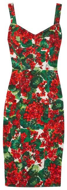 Item - Red Floral Floral-print Stretch-cady Mid-length Night Out Dress Size 10 (M)