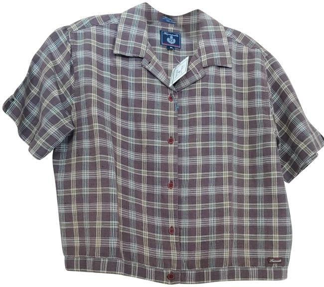 Item - Brown and White Plaid No Collection Name Button-down Top Size 8 (M)