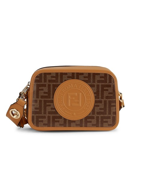Item - Camera Large cam Ff Brown and Beige Leather Coated Canvas Cross Body Bag