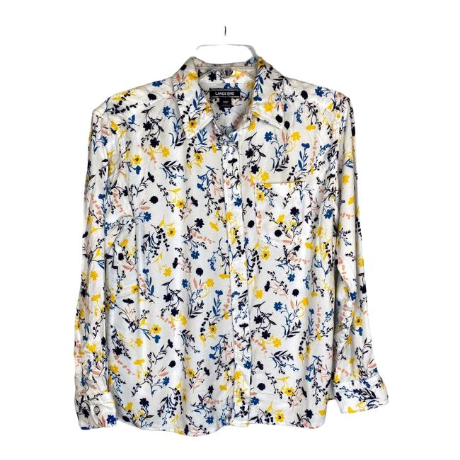Item - White Brushed Rayon Floral Button Up Shirt 10p Button-down Top Size Petite 10 (M)
