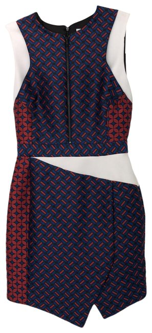Item - Blue & Red Invocation Geometricjacquard Mid-length Short Casual Dress Size 6 (S)