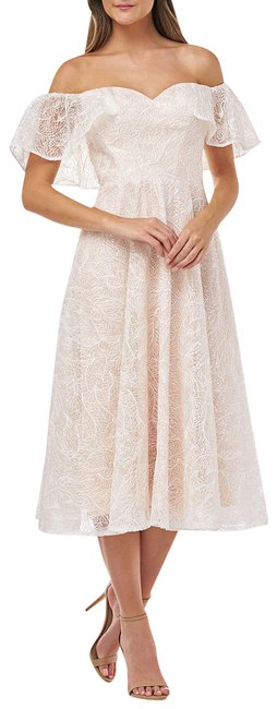 Item - Cream Embroidered Off-the-shoulder Midi Mid-length Formal Dress Size 16 (XL, Plus 0x)