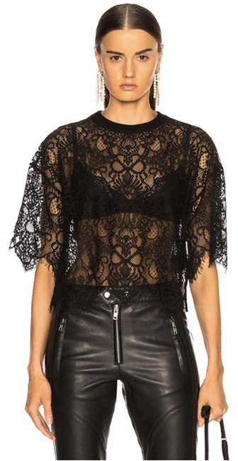 Item - Black Short-sleeve Corded Lace Tee Shirt Size 4 (S)