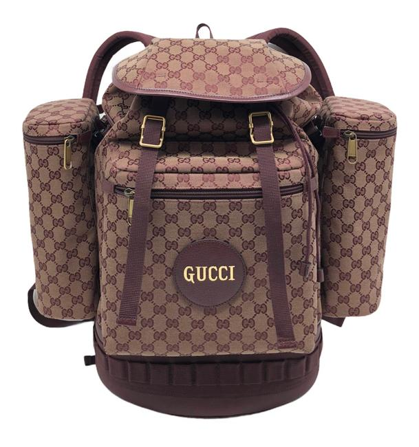 Item - Supreme Large Fashion Show Limited Edition with Bottle Carriers Beige/ Burgundy Gg Canvas / Leather Backpack