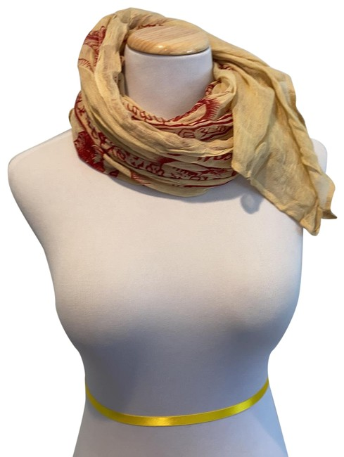 Item - Tannish Yellow/Burnt Red Na Scarf/Wrap