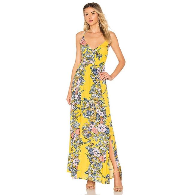 Item - Yellow Multi Floral Through The Vine Long Casual Maxi Dress Size 2 (XS)