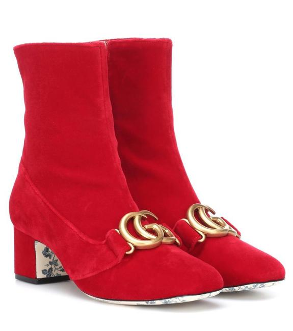 Item - Red Victoire Devil 55 Velvet Ankle Boots/Booties Size EU 38.5 (Approx. US 8.5) Regular (M, B)