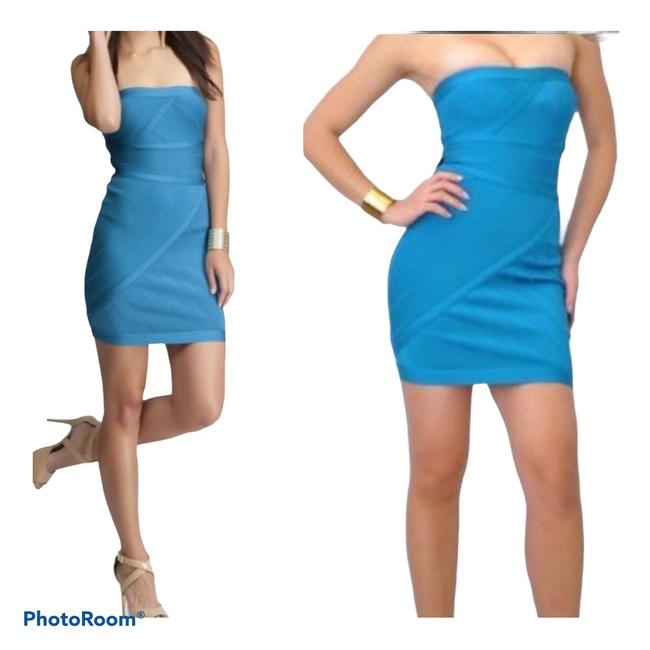Item - Teal Blue Bodycon Strapless Bandage Short Night Out Dress Size 4 (S)