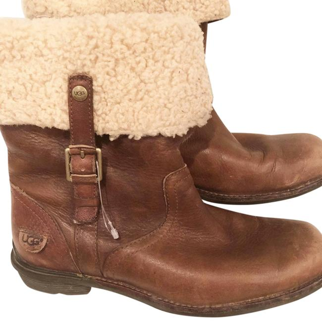 Item - Brown Bellvue Foldover Leather and Sheepskin Boots/Booties Size US 7 Narrow (Aa, N)