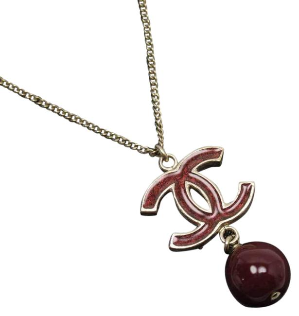 Item - Dark Red Coco Gold Stone Necklace