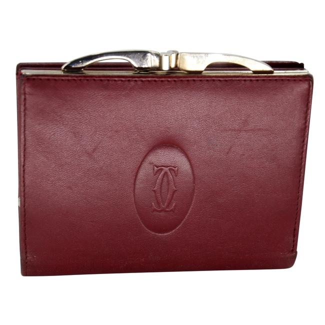 Item - Burgundy Red Kisslock Leather Embossed Happy Birthday Compact Wallet