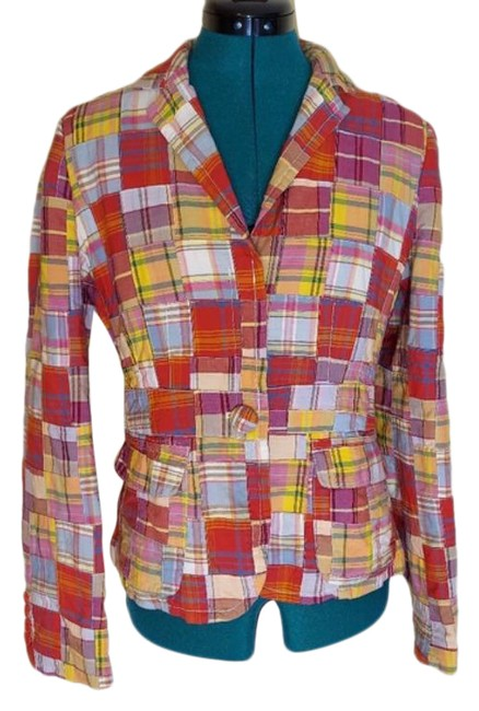 Item - Red Gold Multi Color Patchwork Cotton Blazer Size 6 (S)