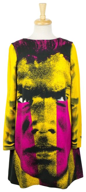 Item - Multi-color Couture X Jeremy Scott Long Sleeve Printed 6/40 Mid-length Short Casual Dress Size 6 (S)