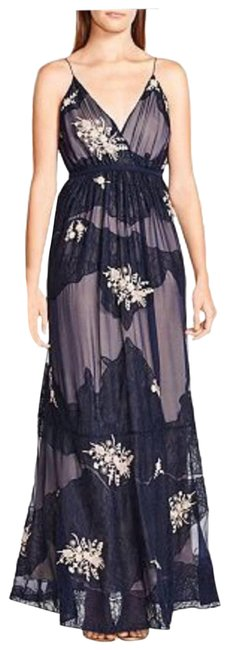 Item - Blue W Maxi W/ Lace & Embroidery Cocktail Dress Size 4 (S)