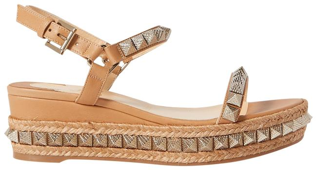 Item - Tan Pyraclou 60 Studded Leather Wedge Sandals Size EU 42 (Approx. US 12) Regular (M, B)