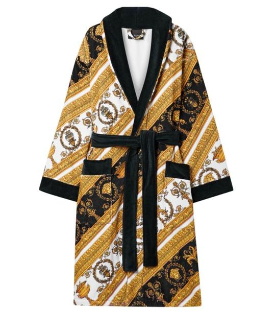 Item - Black Gold New Medusa Baroque Motif Printed Cotton-terry Robe Cover-up/Sarong Size 4 (S)