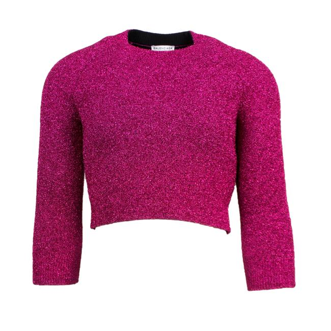 Item - Metallic Cropped Crewneck Size 40/4 Pink Sweater