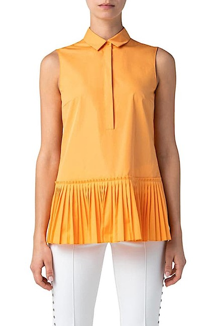 Item - Sunshine Pop with Tag Pleated Sleeveless Shirt Button-down Top Size 2 (XS)