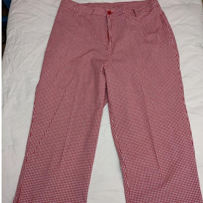 """Item - Excellent Used Condition Cute Red & White Checked Pattern 2 Slash Pockets 19"""" Inseam Zipper and Button Closure. See Pants Capris Size Petite 8 (M)"""