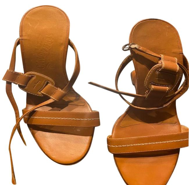 Item - Tan Sandals with Leather Gancini Buckle 38 Wedges Size US 8 Regular (M, B)