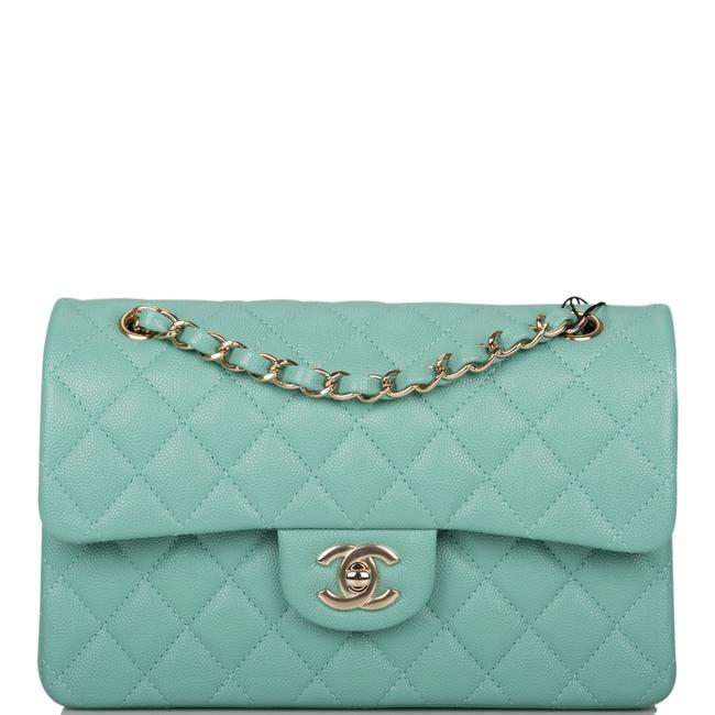 Chanel Classic Flap Light Quilted Caviar Small Classic Double Light Gold Green Leather Shoulder Bag Chanel Classic Flap Light Quilted Caviar Small Classic Double Light Gold Green Leather Shoulder Bag Image 1