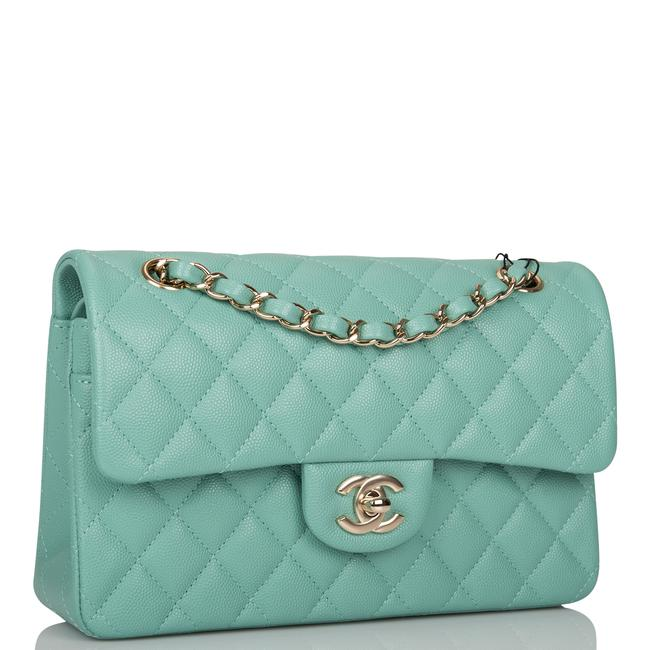 Chanel Classic Flap Light Quilted Caviar Small Classic Double Light Gold Green Leather Shoulder Bag Chanel Classic Flap Light Quilted Caviar Small Classic Double Light Gold Green Leather Shoulder Bag Image 2