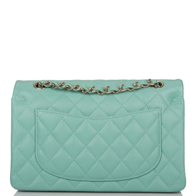 Chanel Classic Flap Light Quilted Caviar Small Classic Double Light Gold Green Leather Shoulder Bag Chanel Classic Flap Light Quilted Caviar Small Classic Double Light Gold Green Leather Shoulder Bag Image 4