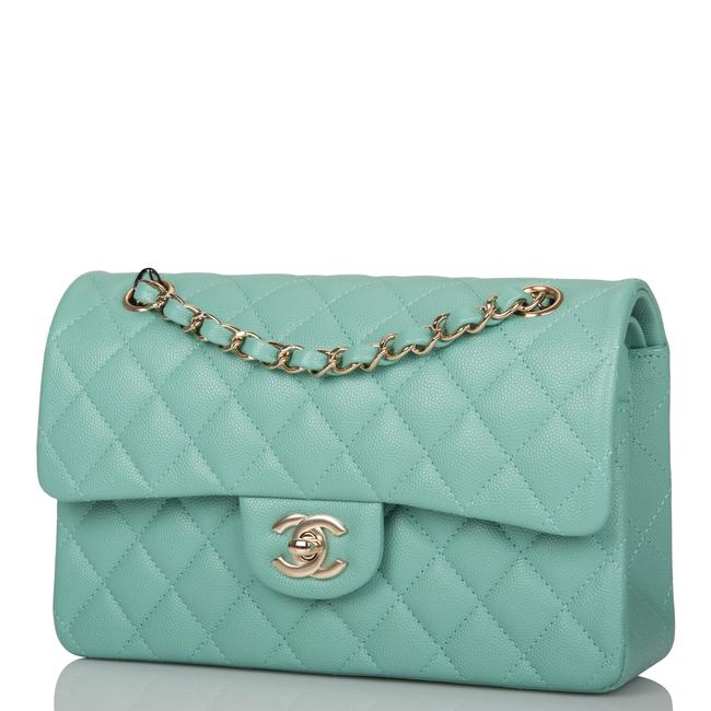 Chanel Classic Flap Light Quilted Caviar Small Classic Double Light Gold Green Leather Shoulder Bag Chanel Classic Flap Light Quilted Caviar Small Classic Double Light Gold Green Leather Shoulder Bag Image 5