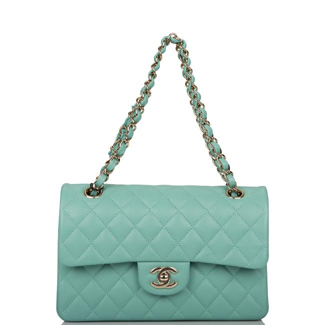 Chanel Classic Flap Light Quilted Caviar Small Classic Double Light Gold Green Leather Shoulder Bag Chanel Classic Flap Light Quilted Caviar Small Classic Double Light Gold Green Leather Shoulder Bag Image 7