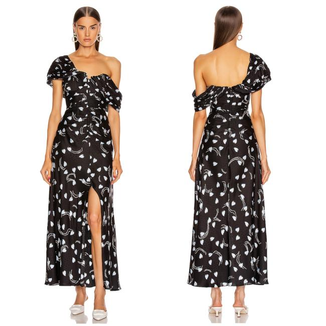 Item - Black Abstract Geo Print Off-shoulder Maxi Long Formal Dress Size 2 (XS)