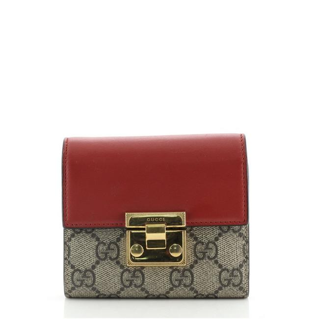 Item - Brown Red Padlock Flap Gg Coated Canvas and Leather Small Wallet