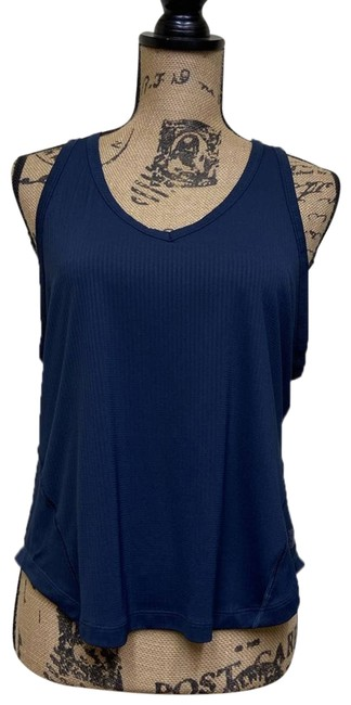 Item - Blue Navy Waffle Keyhole Back Small Activewear Top Size 4 (S)