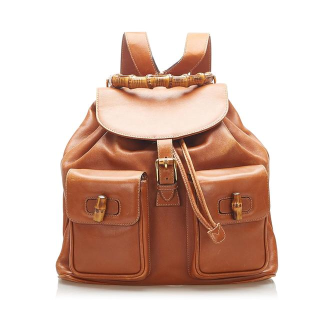 Item - Bamboo Drawstring Brown Leather Backpack