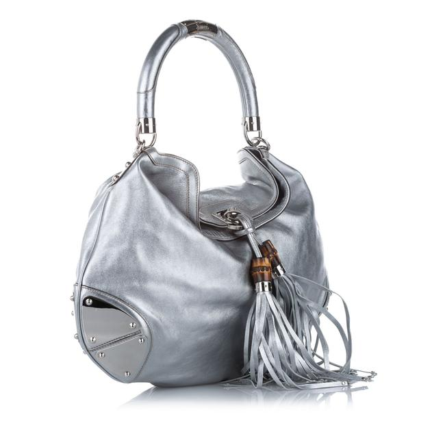 Item - Indy Bamboo Silver Leather Satchel