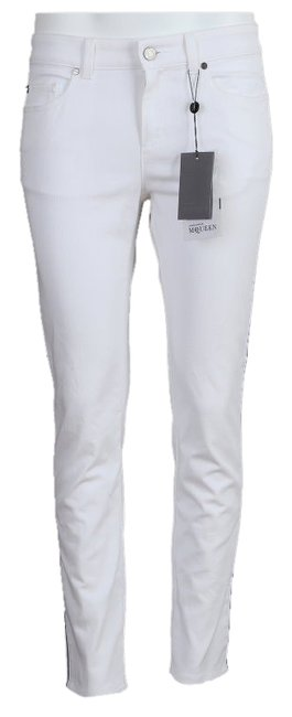 Item - White with Royal Blue Piping Light Wash New Stretchy Cotton Skull Embroider 44/10 Skinny Jeans Size 10 (M, 31)