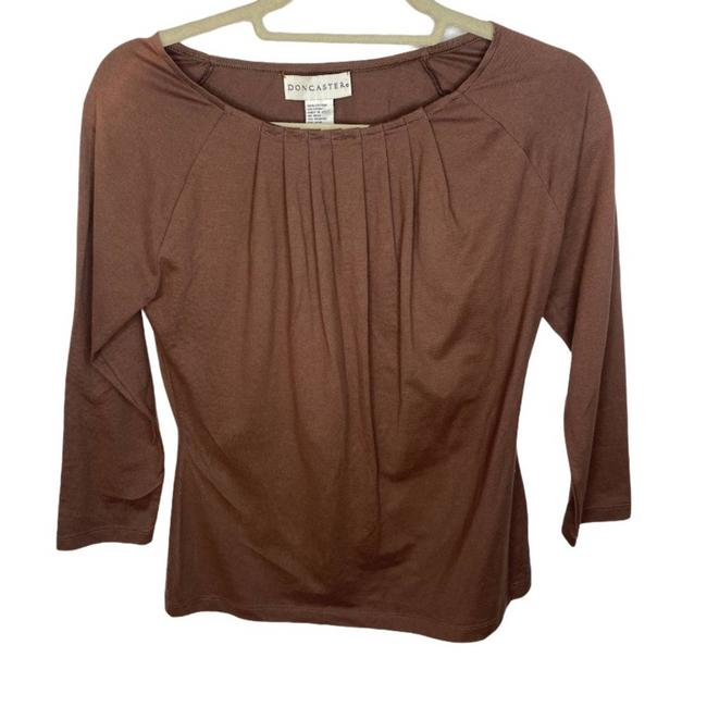 Item - Brown XS Pleated Blouse Size 2 (XS)