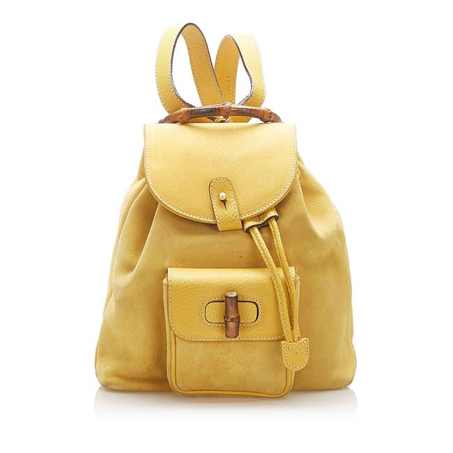 Item - Bamboo Suede Yellow Leather Backpack