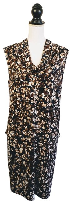 Item - Brown White Mid-length Cocktail Dress Size 12 (L)