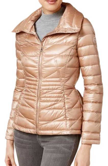 Item - Pink Cinched Waist Peplum Puffer Coat Jacket Size 4 (S)