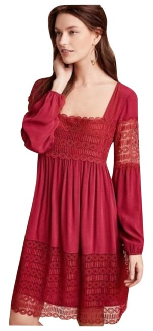 Item - Pink Purple Floreat Red Adeline Lace Mid-length Short Casual Dress Size 4 (S)