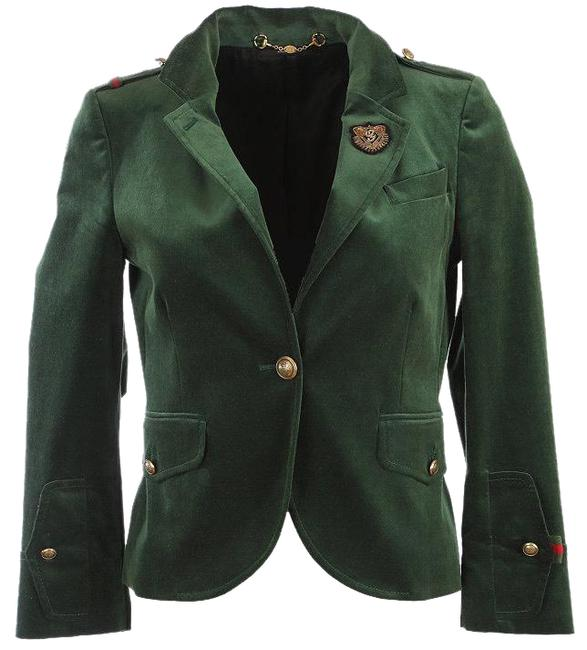 Item - Green with Logo and Web Details Hysteria Velvet G Embroider Cotton 42/8 Blazer Size 6 (S)