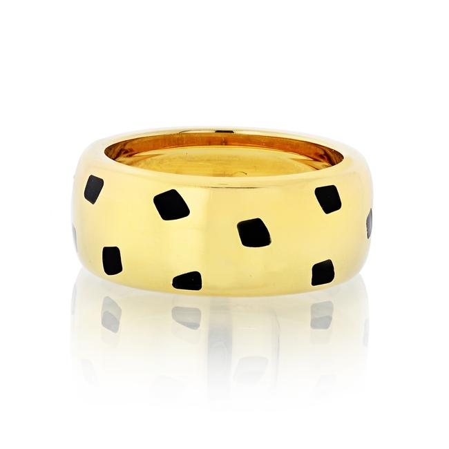 Item - 18k Yellow Gold Panthere Black Lacquer Size 54 Us 7 Ring