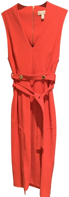 Item - Red Beltran Belted Cutout Crepe Mid-length Cocktail Dress Size 4 (S)