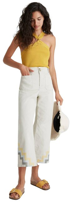 Item - Tan New Hallee Embroidered Wide-leg Pants Size 8 (M, 29, 30)