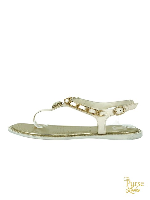 Item - White Leather Chain Egyptain Beetle C #33826 Sandals Size EU 39 (Approx. US 9) Wide (C, D)